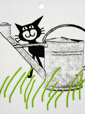 CAT BEHIND WATERING CAN - SWEDISH DISHCLOTH