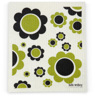 FLOWER POWER, OLIVE & BLACK - SWEDISH DISHCLOTH