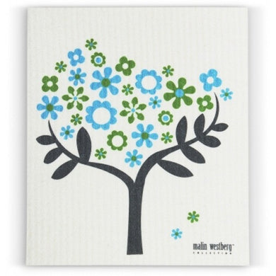 FLOWER TREE - GREEN & BLUE - SWEDISH DISHCLOTH