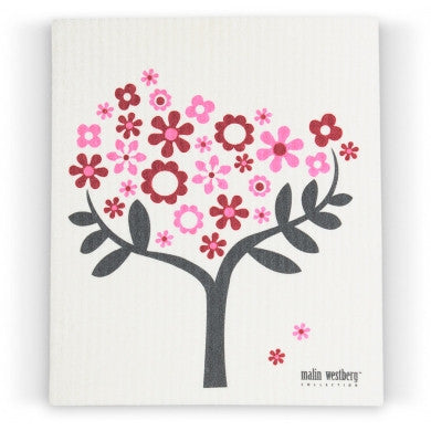 FLOWER TREE - PINK & RED - SWEDISH DISHCLOTH