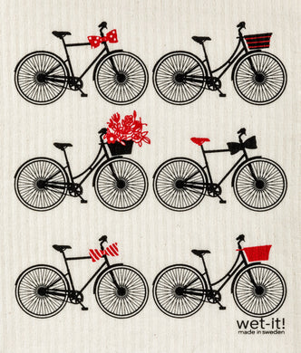 BIKES, BLACK - SWEDISH DISHCLOTH