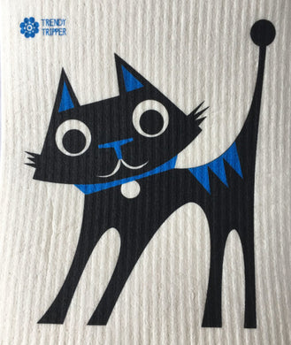 Black Cat with blue Swedish Dishcloth