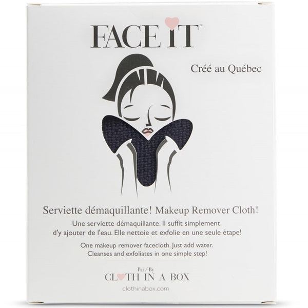 CLOTH IN A BOX | Serviette démaquillante réutilisable cœur  'Face it' noire