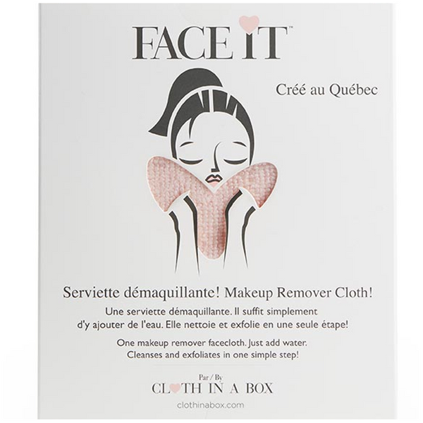 CLOTH IN A BOX | Serviette démaquillante réutilisable cœur  'Face it' rose