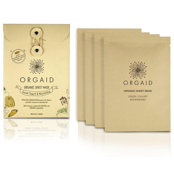 ORGAID | 4 Masques en feuille Greek Yogurt & Nourishing Organic Sheet Mask Box (4 sheets)