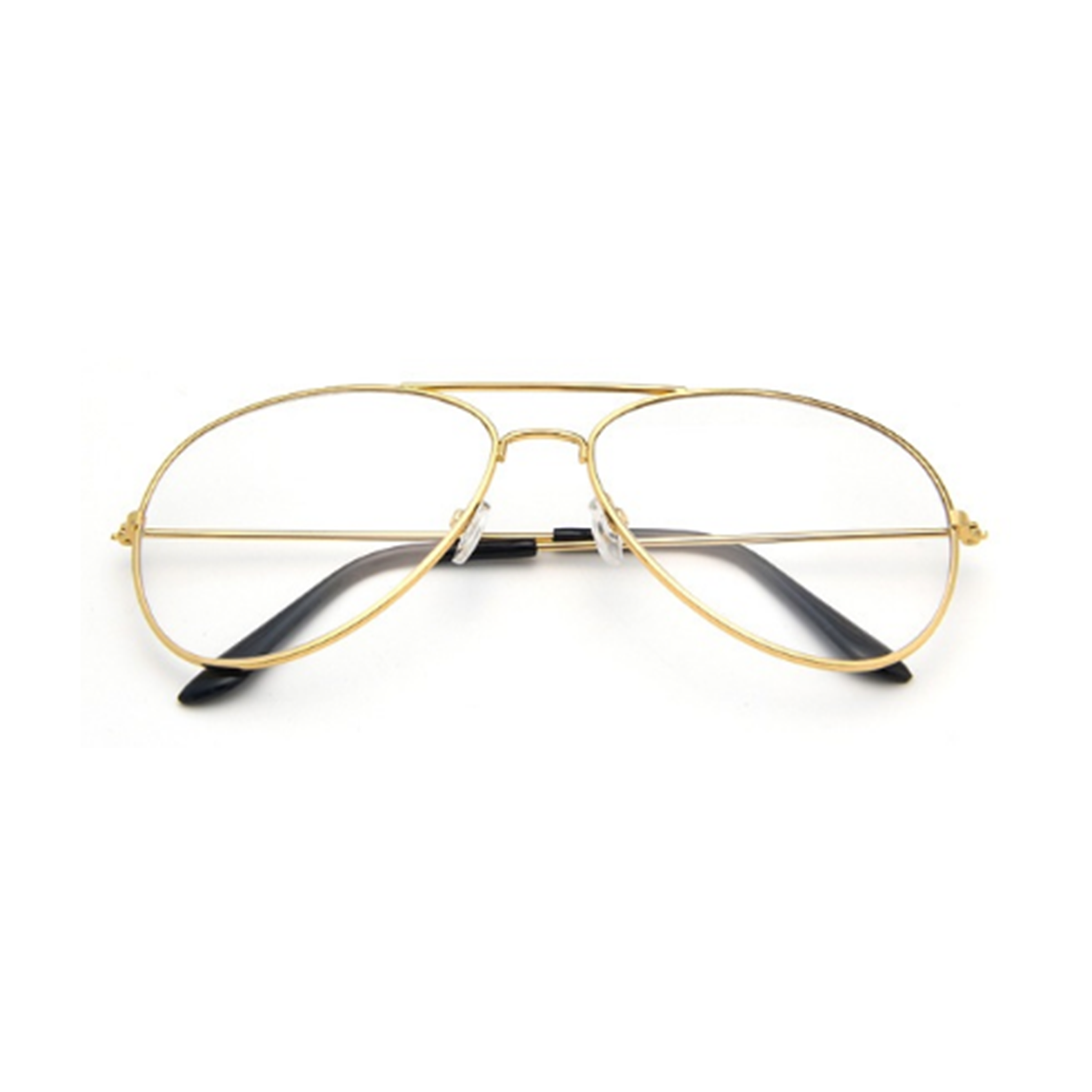 Gold Aviators With Clear Lenses By INDY Sunglasses.