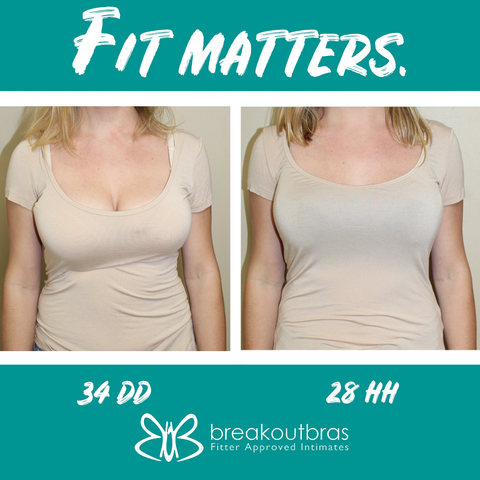 Front view with shirt before and after a bra fitting at Breakout Bras