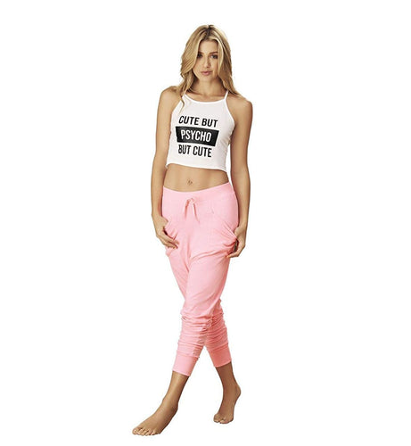 Mapale Crop Cami and Jogger Pant PJ Set (7268),Medium,Pink/White - Pink/White,Medium