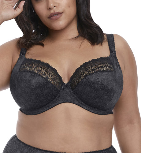 Elomi Kim Banded Stretch Lace Plunge Underwire Bra (4340),32GG,Black - Black,32GG