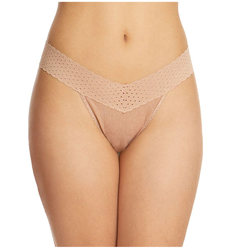 Hanky Panky Original Rise Organic Cotton Thong with Lace (791101)