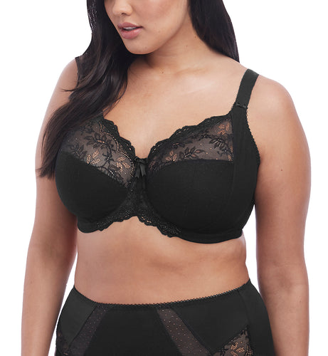 Elomi Meredith Stretch Lace Banded Underwire Bra (4440)- Black