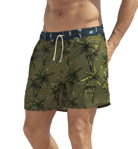 LEO Men's Printed Loose Fit Swim Trunk (505028),Large,Green Palm - Green Palm,Large