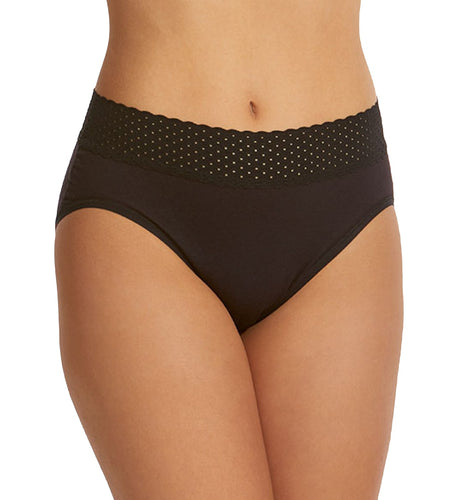 Hanky Panky Organic Cotton French Brief with Lace (792131),XL,Black - Black,XL