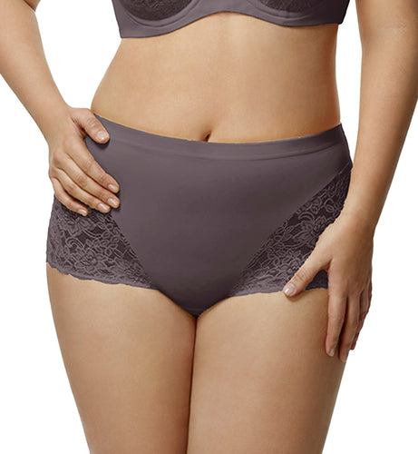 Elila Stretch Lace Cheeky Full Panty (3311),2XL,Grey - Grey,XXL