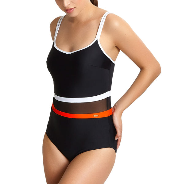 Panache Kira Balconnet Underwire One Piece Swimsuit (SW1380),32E,Black/Orange - Black/Orange,32E