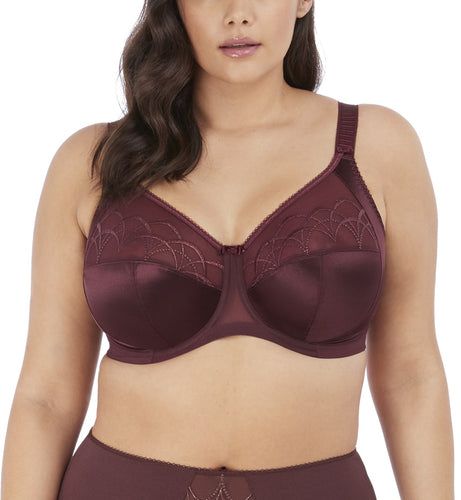 Elomi Cate Embroidered Full Cup Banded Underwire Bra (4030)- Raisin