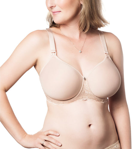 hotmilk Obsession Molded Spacer Flexi-Wire A-Frame Nursing Bra (OBN),38H,Nude - Nude,38H