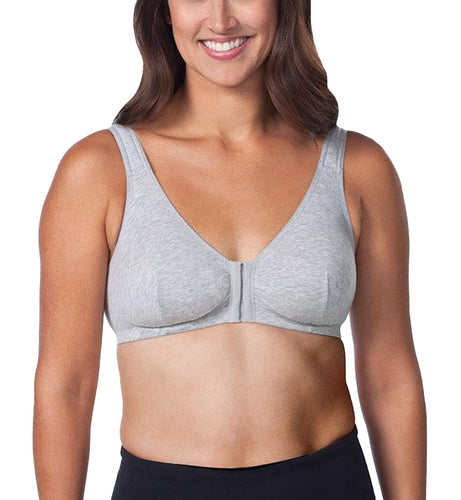Leading Lady Meryl Cotton Front Closure Bra (110)- Heather Grey