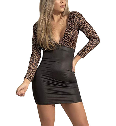 Mapale Deep V Open Back Long Sleeve Dress (4530)