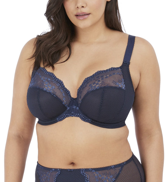 Elomi Charley Banded Stretch Lace Plunge Underwire Bra (4382)- Navy