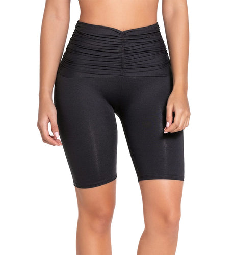 Leonisa ActiveLife Layover Ruched Mid-Thigh Shaper Short (196005),Large,Black - Black,Large