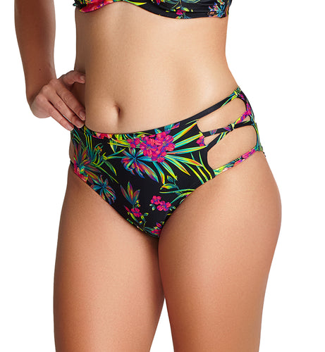 Panache Anya Print Midi Swim Brief (SW1299),Small,Black Palm - Black Palm,Small