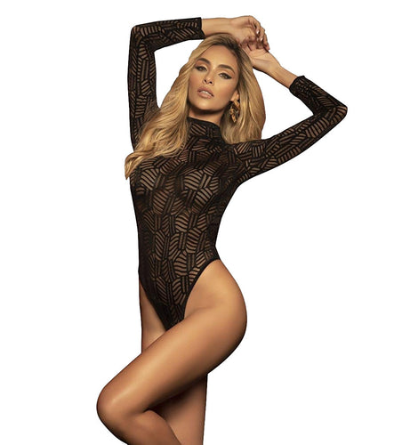 Mapale Sheer Long Sleeve Open Back Bodysuit (7302),Large,Black - Black,Large