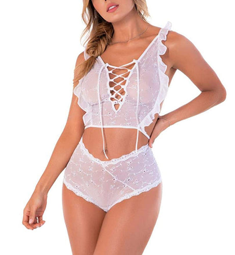 Mapalé Sheer Crop Ruffle Teddy (8491)