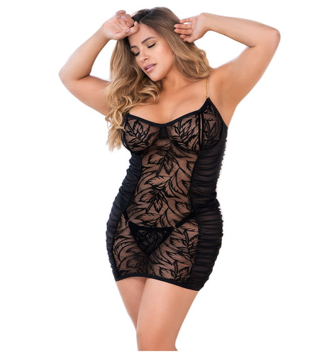 Mapale Peek-a-Boo Babydoll with Matching G-String PLUS Size (7360X)