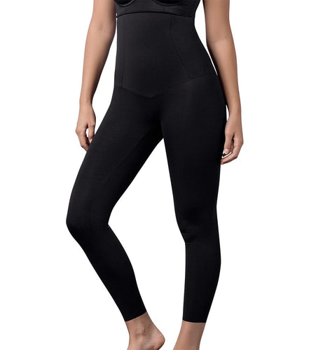 Leonisa Extra High-Waisted Firm Compression Legging (012901),Large,Black - Black,Large