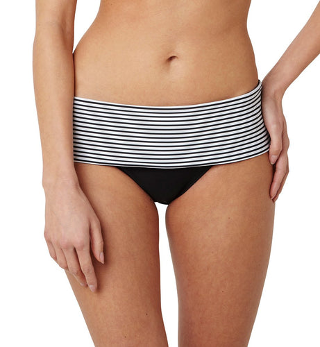 Panache Anya Stripe Folded Swim Brief (SW0897)- Black/White