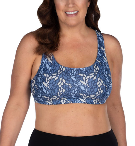 Leading Lady Serena Wirefree Racerback Sports Bra (514)- Geo Leaves