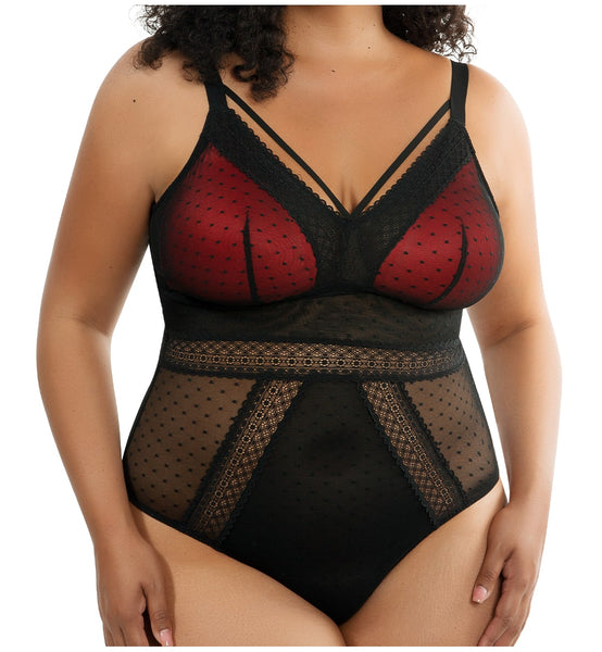 Parfait Mia Dot Wire-Free Padded Mesh Bodysuit (P6017)