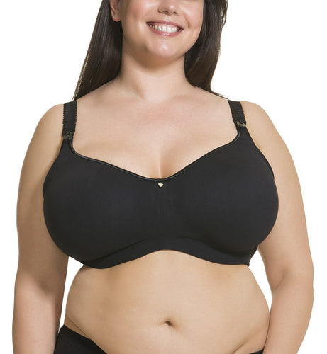Cake Dark Croissant Flexible Wire Seamless Nursing Bra (24-1016-06),32C - Black,32C UK/ 32C US