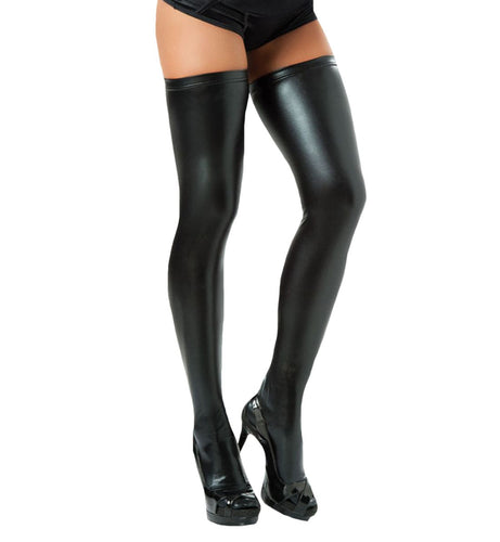 Mapale Faux Leather Thigh Highs (1017),One Size,Black - Black,One Size