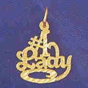 14K GOLD SAYING CHARM - #1 LADY #10133