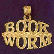 14K GOLD SAYING CHARM - BOOK WORM #10549