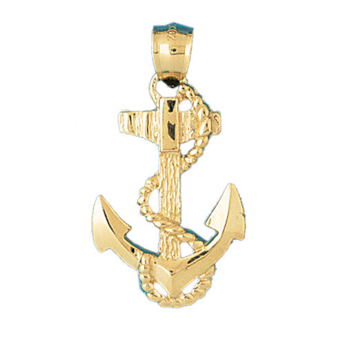 14K GOLD NAUTICAL CHARM - ANCHOR, We Specialize in 14Kt Gold charms, 14k gold Pendants,14k gold necklaces,14k Gold Bracelets,14k Gold Earrings,14k Gold Rings