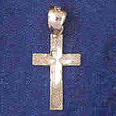 14K WHITE GOLD RELIGIOUS CHARM - SMALL CROSS #11405