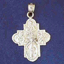 14K WHITE GOLD RELIGIOUS CHARM - CROSS #11428