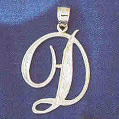 14K WHITE GOLD INITIAL CHARM - D #11567