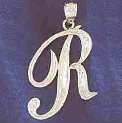 14K WHITE GOLD INITIAL CHARM - R #11567