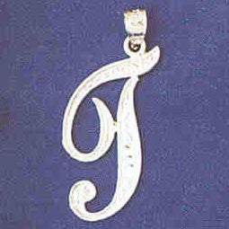 14K WHITE GOLD INITIAL CHARM - T #11567