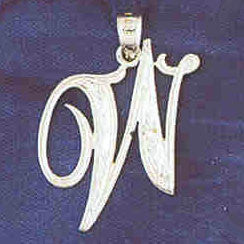 14K WHITE GOLD INITIAL CHARM - W #11567