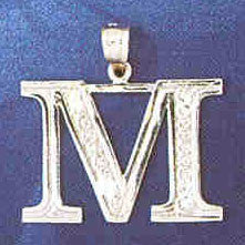 14K WHITE GOLD INITIAL CHARM - M #11568