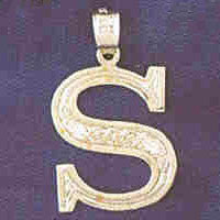 14K WHITE GOLD INITIAL CHARM - S #11568