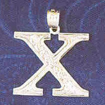 14K WHITE GOLD INITIAL CHARM - X #11568