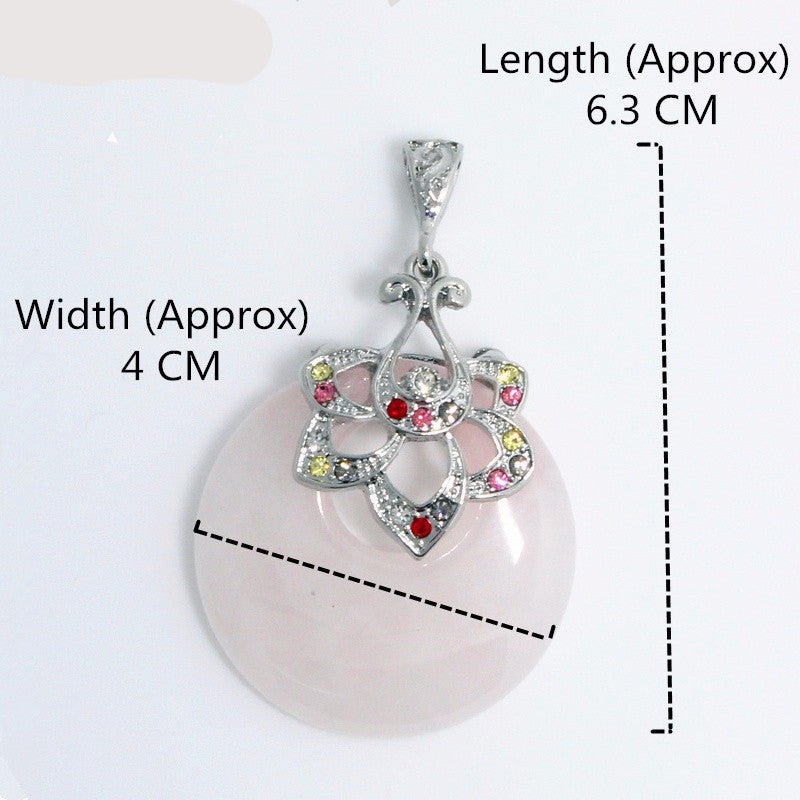 Pink Quartz Healing Stone Pendant Natural Pink Crystal Pendants Women Ethnic Silver Flower Suspension Pendant Jewelry