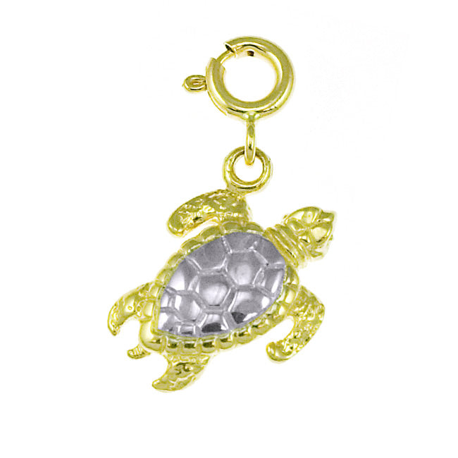 14K GOLD TWO TONE NAUTICAL CHARM - TURTLE, We Specialize in 14Kt Gold charms, 14k gold Pendants,14k gold necklaces,14k Gold Bracelets,14k Gold Earrings,14k Gold Rings, Pendant