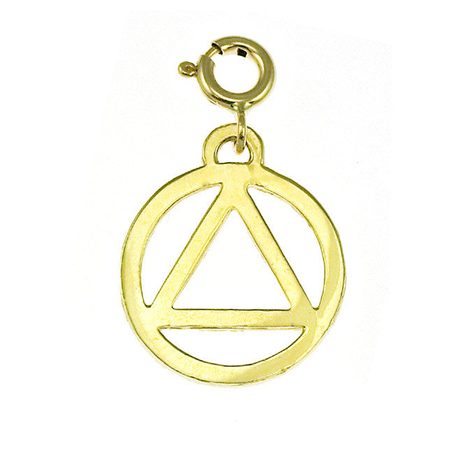 14k Gold Alcoholics Anonymous Necklace, Pendant, Charm #6501